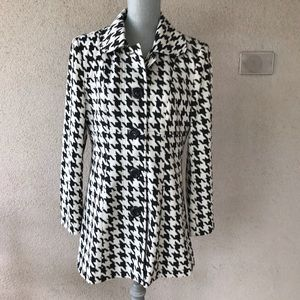 Houndstooth Peacoat Button Down Coat medium